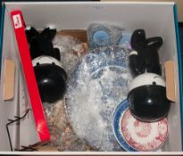 Mixed Box Comprising Collectable Plates, Wedgwood Jasper Ware, Musical Figures, 2 Homepride Fred