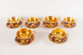 Aynsley Painted Fruit & Signed Set Of Six Acid Gold Cups & Saucers all pieces are in good condition