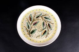 Glyn Colledge Ink Signed 1950's Denby Stoneware - Circular Dish/Bowl ' Leaves ' Pattern. 10 Inches
