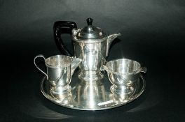 Art Deco 3 Piece Silver Plated Tea Service Together With A Circular Salver