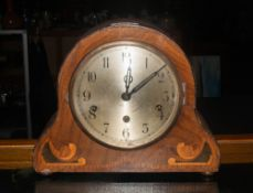Early 20thC 'Napoleon' Mantel Clock, Silvered Dial With Arabic Numerals, Inlaid Case