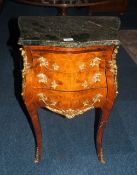 Small French Style Walnut Marble Topped Chest, Serpentine Front, 3 Drawers Ormolu Mounted On
