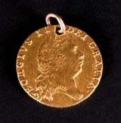 George III Gold Spade Guinea Dated 1798 with Attached 9ct Gold Bolt Ring. 8.6 grams.