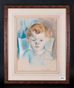 Emmanuel Levy (D.1986) Manchester Artist Pastel & Watercolour, Portrait Of A Young Baby with curly
