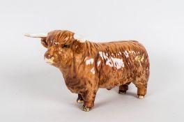 Beswick Animal Figure ' Highland Bull ' Tan Gloss. Model Num.2008. Designer A. Gredington. c.1965-