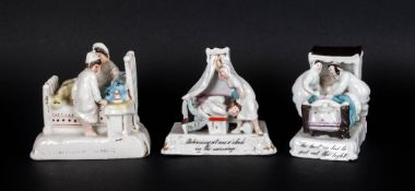 Three Antique Porcelain German Fairings - The Last In Bed, Lights Out and Two O'clock In The