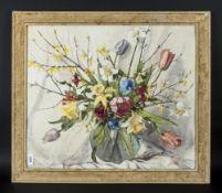 Phyllis Hibbert (1903-71) Still Life Watercolour, 'Spring Flowers', showing various tulips,