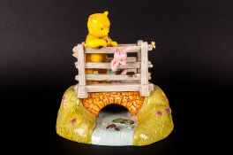 Royal Doulton Hand Made Winnie The Pooh Ltd and Numbered Edition Figure Group - Pooh Sticks WP84.
