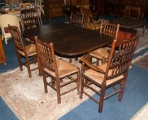 Cottage Style Oak Dining Suite comprising dining table and 6 chairs with rush seats and spindle