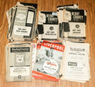 Football Programmes , Approx 100, 1950/60's Liverpool & Derby County