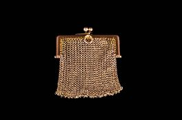 Victorian - Finely Worked 9ct Gold Miniature Mesh Purse with Two Ball Clasp. Marked 9ct. 2.25 Inches