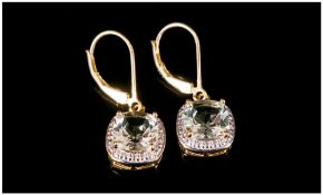 Green Amethyst Drop Earrings, solitaire cushion cut green amethysts of 2cts to each drop, set in