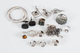 Mixed Lot Of Silver Jewellery Comprising Rings, Earrings, Pendants, Necklaces, Cufflinks, Brooch
