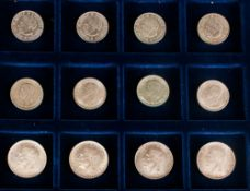 A Cabinet Box Containing 12 Swedish Silver Coins, comprising 4 Silver 5 Kroners Date 1952, 4