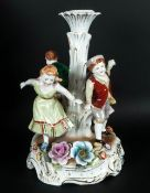 Schierholtz Plaue East German Hand Painted 1970's Porcelain Figural Candlestick stands 9'' in