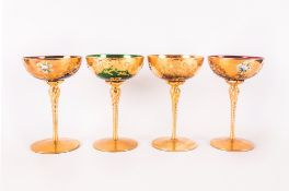 Murano / Venetian Very Fine Set of Four 1960's Hand Painted Tre-Fuochi Wine Glasses, with 24ct