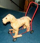 Pedigree Soft Toys Ltd Dog On Wheeled Frame, Steel Frame, Mohair Mixture Plush With Wood/Wool