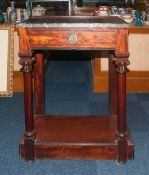 Mahogany Marble Topped Wash Stand With A Single Drawer Raised On Turned Columns, Height 35 Inches,