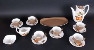 Midwinter Stylecraft ( 16 ) Piece Coffee Service ' Oranges and Lemons ' Pattern. 6 Cups and Saucers,