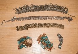6 Pieces Of Costume Jewellery To Include A Sterling Silver Floral Enamel Bracelet.