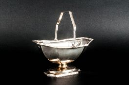 A Good Quality Swing Handle Silver Sugar or Sweetmeat Basket, Makers Mark - Charles Clement Pilling,