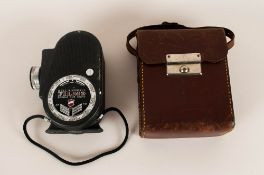 Bell and Howell Double Run Eight 8mm Movie Camera. Complete with Leather Case and Strap. c.1930's/