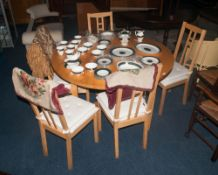 Modern Circular Extending Table And 4 Chairs