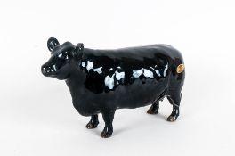 Beswick Animal Figure ' Aberdeen Angus Cow ' Black Gloss. Model Num.1563. Issued 1959-1989. Designer