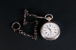 Swiss - Antique Silver Open Faced Pocket Watch with White Dial and Ornate Gold Fingers, Secondary