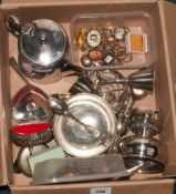 Mixed Boxed Of Collectables To Include Costume Jewellery, EPNS Teapot, Flatware, Bowl Etc.