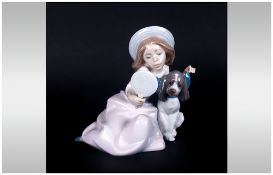 Lladro Figure ' Who's The Fairest ' Girl with Dog. Model Num 5468. Issued 1988-2001. Sculptor Juan