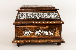 A Vintage Indian - Large Lidded Wood Carved Jewellery Casket. The Side Panels and Cover, Decorated