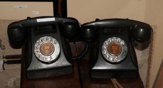 Telephone Rentals Ltd 2 Black Mid 20thC Bakelite Telephones