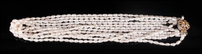 A Vintage 5 Strand Freshwater Pearl Necklace, with Silver Clasp. Marked Silver. 20 Inches In