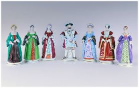 Sitzendorf Hand Painted Set Of Seven Figures Henry VIII & His Six Wives. All figures are in mint