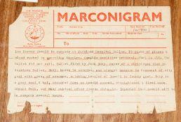 J.F Kennedy Assissination, An Original Marconi Telegram November 1960, informing news agencies