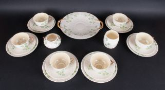 Belleek - Irish Porcelain - Fine and Stylish 1920's / 1930's ( 22 ) Piece Tea Service ' Shamrock '