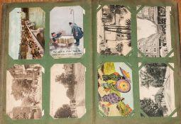 Postcard Album Containing A Mixture Of Various Postcards
