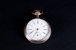 French - Antique Silver Open Faced Pocket Watch, Features a White Porcelain Dial, Black Numerals,
