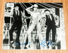 Morecambe & Wise Autographs On Large B&W TV Photograph, both signatures. Circa 1980s