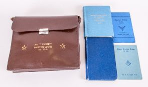 Masonic 1950's Leather Pouch Containing Masonic Sash, Books etc. For Egerton Lodge Number 2216