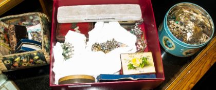 Mixed Box Comprising Mostly Costume Jewellery To Include Brooches, Rings, Necklaces, Hat Pins,