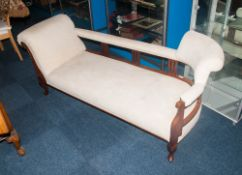 Late 19th Early 20thC Mahogany Framed Chaise Longue, Cream Upholstered Back And Arm Rest Raised On