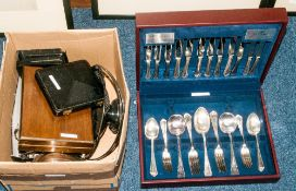 Misc Plated Ware To Include Odd Silver Bits, Comprising Tea Spoons, Japanese Cigarette Box,