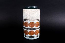 Troika - Double Banded and Cylindrical Shaped Vase. c.1967-1969. Monogrammed for Sylvia Vallence