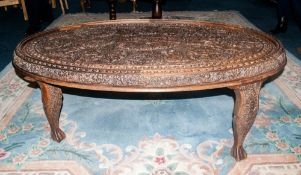 Anglo Indian Coffee Table, Profusely Carved Throughout With Foliage & Animal Decoration, 56 x 35