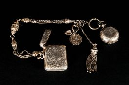 Edwardian Ladies Silver Albertina With Attached Silver Sovereign And Vesta Cases, Both Fully