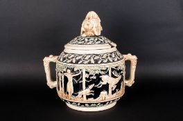 German Pottery Hunting Tureen, Decorated with Scenes From The Hunt - Dogs, Boars and Deer's, The Lid