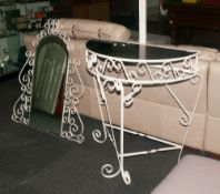 Hall Stand and Mirror in Cast Iron. Painted white in High Victorian style. With stand mirror,