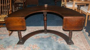 Oak Horseshoe Shaped Hunting Table Raised On Turned Supports, Possibly Adapted, Approx 60 x 42